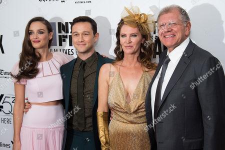 "Charlotte Le Bon, left, Joseph Gordon-Levitt, Leslie Harter Zemeckis and Robert Zemeckis attend the New York Film Festival opening night gala premiere for ""The Walk"" at Alice Tully Hall, in New York"