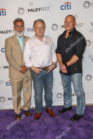 From left, John P. Kousakis, Shane Brennan, and R. Scott Gemmill attend the at 2015 PaleyFest Fall TV Previews at The Paley Center for Media, in Beverly Hills, Calif
