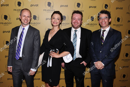 Stock Image of Steve Ast, left, Christine Nangle, Neil Casey, and Ryan McFaul attend the 74th Annual Peabody Awards at Cipriani Wall Street, in New York