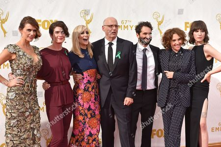 From left, Amy Landecker, Gaby Hoffman, Judith Light, Jeffrey Tambor, Jay Duplass, Jill Soloway and Alison Sudol arrive at the 67th Primetime Emmy Awards, at the Microsoft Theater in Los Angeles