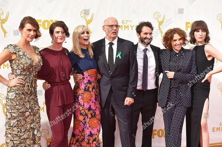 Amy Landecker, from left, Gaby Hoffman, Judith Light, Jeffrey Tambor, Jay Duplass, Jill Soloway and Alison Sudol arrive at the 67th Primetime Emmy Awards, at the Microsoft Theater in Los Angeles