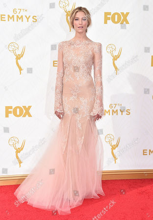 Caitlin Gerard arrives at the 67th Primetime Emmy Awards, at the Microsoft Theater in Los Angeles