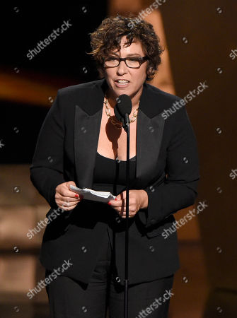 Lisa Cholodenko accepts the award for outstanding directing for a limited series, movie or dramatic special for Olive Kitteridge at the 67th Primetime Emmy Awards, at the Microsoft Theater in Los Angeles
