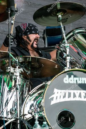 Vinnie Paul of Hellyeah perform during the 2015 Rockstar Energy Drink Mayhem Festival at San Manuel Amphitheater on in San Bernardino, Calif