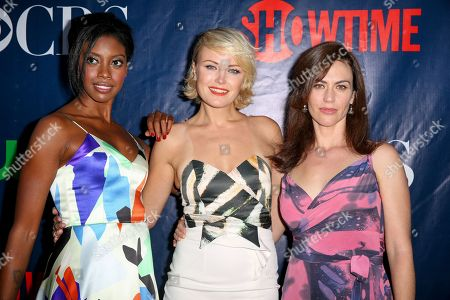 Stock Picture of Kaliswa Brewster, from left, Malin Akerman and Maggie Siff arrive at the Summer TCA CBS, CW, Showtime Party at Pacific Design Center, in West Hollywood, Calif