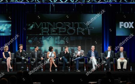 Laura Regan, from left, Nick Zano, Wilmer Valderrama, Meagan Good, Stark Sands, and executive producers Max Borenstein, Kevin Falls, Darryl Frank and Justin Falvey participate in the 'Minority Report' panel at the Fox Television Critics Association Summer Tour at the Beverly Hilton Hotel, in Beverly Hills, Calif