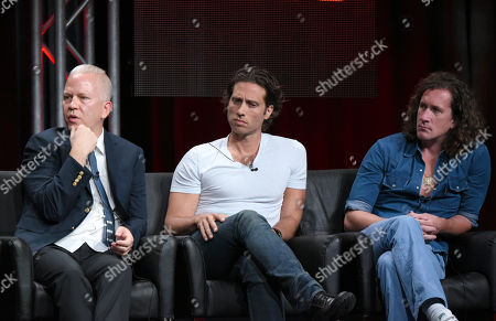 Co-creators/executive producers/directors/writers Ryan Murphy, from left, Brad Falchuk and Ian Brennan participate in the 'Scream Queens' panel at the Fox Television Critics Association Summer Tour at the Beverly Hilton Hotel, in Beverly Hills, Calif