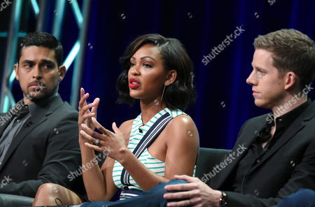 Wilmer Valderrama, from left, Meagan Good and Stark Sands participate in the 'Minority Report' panel at the Fox Television Critics Association Summer Tour at the Beverly Hilton Hotel, in Beverly Hills, Calif