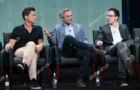Rob Lowe, from left, creators/executive producers Andrew Mogel and Jarrad Paul participate in 'The Grinder' panel at the Fox Television Critics Association Summer Tour at the Beverly Hilton Hotel, in Beverly Hills, Calif