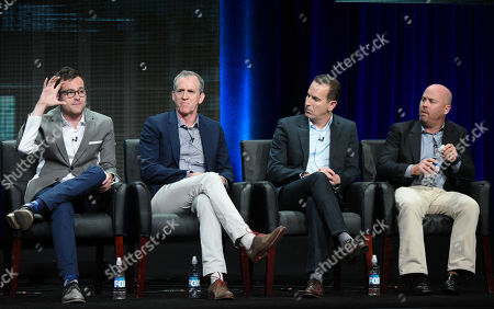 Executive producers Max Borenstein, from left, Kevin Falls, Darryl Frank and Justin Falvey participate in the 'Minority Report' panel at the Fox Television Critics Association Summer Tour at the Beverly Hilton Hotel, in Beverly Hills, Calif