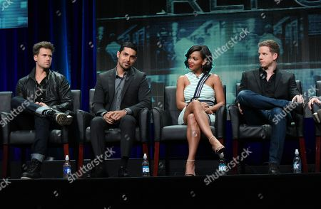 Nick Zano, from left, Wilmer Valderrama, Meagan Good and Stark Sands participate in the 'Minority Report' panel at the Fox Television Critics Association Summer Tour at the Beverly Hilton Hotel, in Beverly Hills, Calif