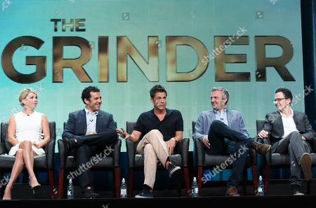 Mary Elizabeth Ellis, from left Fred Savage, Rob Lowe and creator/executive producers Andrew Mogel and Jarrad Paul participate in 'The Grinder' panel at the Fox Television Critics Association Summer Tour at the Beverly Hilton Hotel, in Beverly Hills, Calif