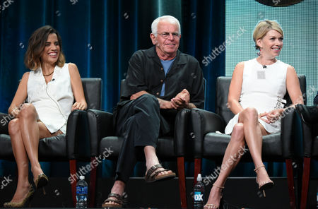 Natalie Morales, from left, William Devane and Mary Elizabeth Ellis participate in 'The Grinder' panel at the Fox Television Critics Association Summer Tour at the Beverly Hilton Hotel, in Beverly Hills, Calif
