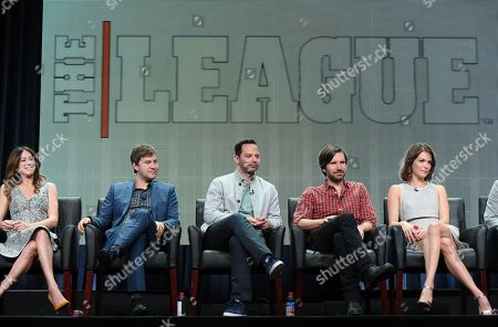 """Jackie Schaffer, co-creator/executive producer/writer/director, from left, Mark Duplass, Nick Kroll, Jon Lajoie, and Katie Aselton participate in """"The League"""" panel at the FX Summer TCA Tour at the Beverly Hilton Hotel, in Beverly Hills, Calif"""