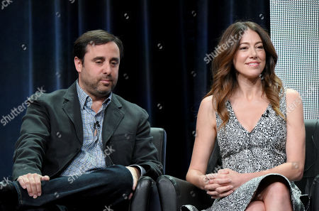 """Co-creators/executive producers/writers/directors Jeff Schaffer, left, and Jackie Schaffer participate in """"The League"""" panel at the FX Summer TCA Tour at the Beverly Hilton Hotel, in Beverly Hills, Calif"""