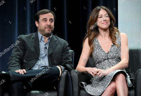 """Stock Photo of Co-Creators/Executive Producers/Writers/Directors Jeff Schaffer, left, and Jackie Schaffer participate in """"The League"""" panel at the FX Summer TCA Tour at the Beverly Hilton Hotel, in Beverly Hills, Calif"""