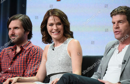 """Jon Lajoie, from left, Katie Aselton and Stephen Rannazzisi participate in """"The League"""" panel at the FX Summer TCA Tour at the Beverly Hilton Hotel, in Beverly Hills, Calif"""