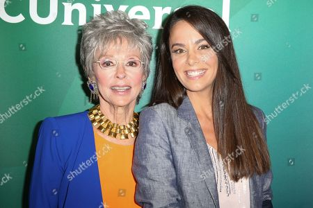 Stock Image of Rita Moreno, left, and Michele Lepe arrive at the NBCUniversal Television Critics Association Summer Tour at the Beverly Hilton Hotel, in Beverly Hills, Calif