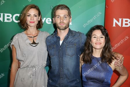 Stock Image of Daisy Betts, from left, Mike Vogel and Yael Stone arrives at the NBCUniversal Television Critics Association Summer Tour at the Beverly Hilton Hotel, in Beverly Hills, Calif