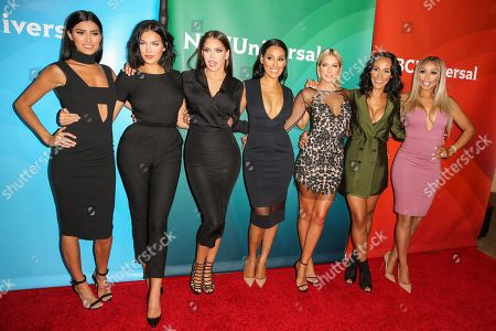 Nicole Williams, from left, Natalie Halcro, Olivia Pierson, Sasha Gates, Barbie Blank, Ashley North and Autumn Ajirotutu arrive at the NBCUniversal Television Critics Association Summer Tour at the Beverly Hilton Hotel, in Beverly Hills, Calif