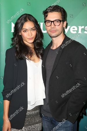 Florence Faivre, left, and Steven Strait arrive at the NBCUniversal Television Critics Association Summer Tour at the Beverly Hilton Hotel, in Beverly Hills, Calif
