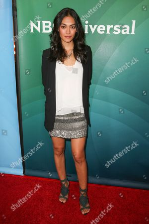 Stock Image of Florence Faivre arrives at the NBCUniversal Television Critics Association Summer Tour at the Beverly Hilton Hotel, in Beverly Hills, Calif