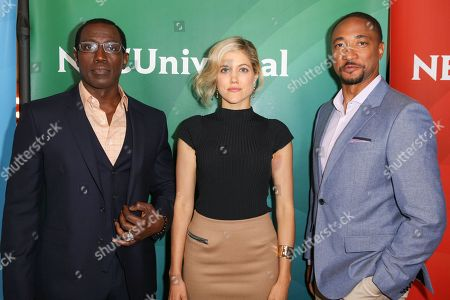 Wesley Snipes, from left, Charity Wakefield and Damon Gupton arrive at the NBCUniversal Summer TCA Tour at the Beverly Hilton Hotel, in Beverly Hills, Calif