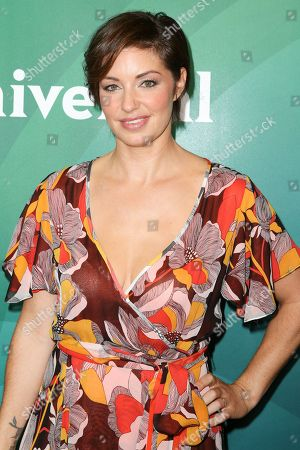 Bianca Kajlich arrives at the NBCUniversal Summer TCA Tour at the Beverly Hilton Hotel, in Beverly Hills, Calif