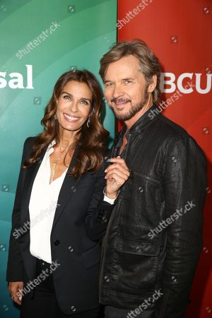 Kristian Alfonso, left, and Stephen Nichols arrive at the NBCUniversal Television Critics Association Summer Tour at the Beverly Hilton Hotel, in Beverly Hills, Calif
