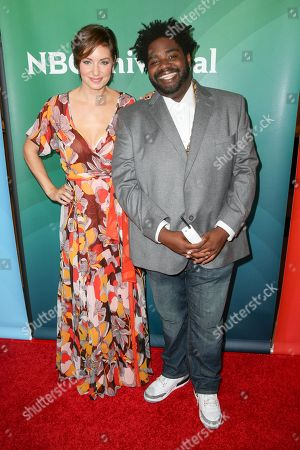Bianca Kajlich, left, and Ron Funches arrive at the NBCUniversal Summer TCA Tour at the Beverly Hilton Hotel, in Beverly Hills, Calif