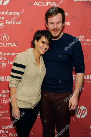 "Joe Swanberg, right, director/co-writer/producer of ""Digging for Fire,"" poses with his wife, filmmaker Kris Swanberg, at the premiere of the film at the Eccles Theatre during the 2015 Sundance Film Festival, in Park City, Utah"