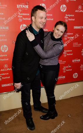 """Matt Wolf, left, director of the documentary short film """"It's Me, Hilary: The Man Who Drew Eloise,"""" and executive producer Lena Dunham pose together at the premiere of the film at the Egyptian Theatre during the 2015 Sundance Film Festival, in Park City, Utah"""