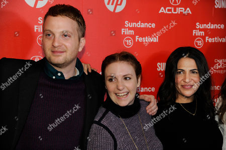 """Matt Wolf, left, director of the documentary short film """"It's Me, Hilary: The Man Who Drew Eloise,"""" and executive producers Lena Dunham, center, and Jenni Conner pose together at the premiere of the film at the Egyptian Theatre during the 2015 Sundance Film Festival, in Park City, Utah"""
