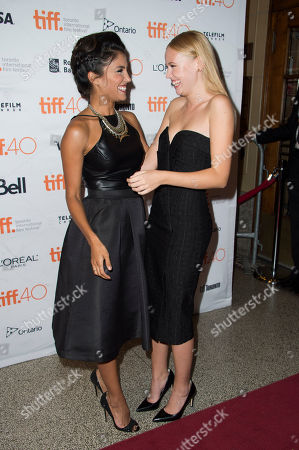 """Stock Photo of Nazneen Contractor, left, and Danika Yarosh attend a premiere for """"Heroes Reborn"""" on day 6 of the Toronto International Film Festival at The Winter Garden Theatre, in Toronto"""