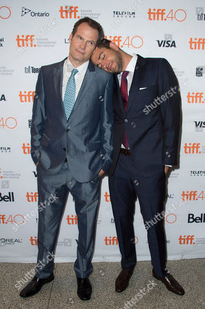 """Jack Coleman, left, and Zachary Levi attend a premiere for """"Heroes Reborn"""" on day 6 of the Toronto International Film Festival at The Winter Garden Theatre, in Toronto"""