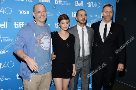 "Director Dito Montiel, Kate Mara, Shia LaBeouf and writer Adam Simon attend a press conference for ""Man Down"" on day 6 of the Toronto International Film Festival at the TIFF Bell Lightbox, in Toronto"