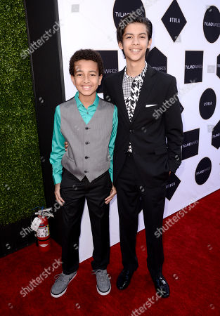 Stock Image of Tyree Brown, left, and Xolo Mariduena arrive at the TV Land Awards at the Saban Theatre, in Beverly Hills, Calif