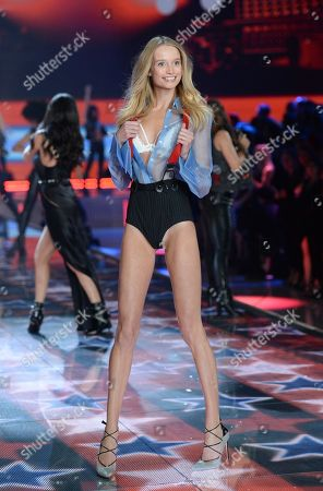 Stock Image of Model Maud Welzen walks the runway during the 2015 Victoria's Secret Fashion Show at the Lexington Armory, in New York. The Victoriaâ?™s Secret Fashion Show will air on CBS on Tuesday, December 8th at 10pm EST