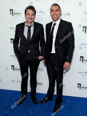 Stock Image of Co-founders of Tinder Jonathan Badeen, left, and Sean Rad, right, attend the 19th Annual Webby Awards at Cipriani Wall Street, in New York