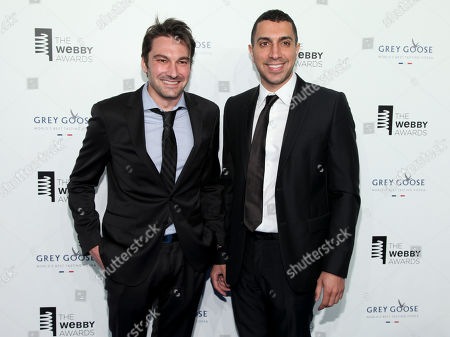 Stock Photo of Co-founders of Tinder Jonathan Badeen, left, and Sean Rad, attend the 19th Annual Webby Awards at Cipriani Wall Street, in New York