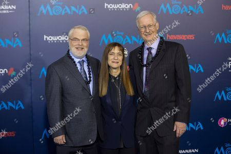 """Ron Clements, from left, Osnat Shurer, and John Musker arrive at the 2016 AFI Fest - """"Moana"""" World Premiere at El Capitan Theatre, in Los Angeles"""