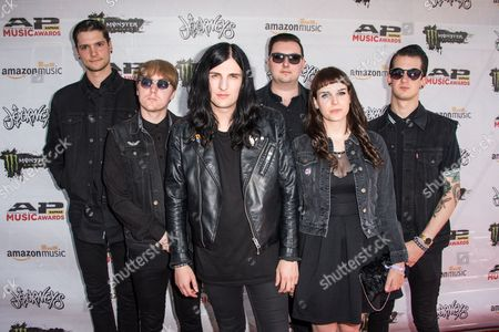 Will Gould, from left, Ian Miles, Oliver Burdett, Sean Scott, and Hannah Greenwood, Dan Bratton of Creeper arrive at the 2016 Journeys AP Music Awards at Value City Arena at the Jerome Schottenstein Center, in Columbus, Ohio