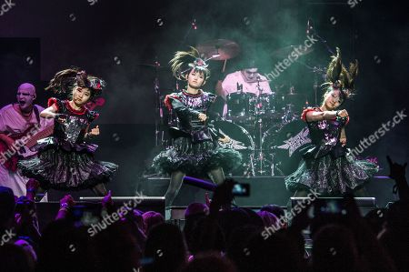 Stock Image of Yui Mizuno, from left, Suzuka Nakamoto, and Moa Kikuchi of BABYMETAL perform at the 2016 Journeys AP Music Awards at Value City Arena at the Jerome Schottenstein Center, in Columbus, Ohio
