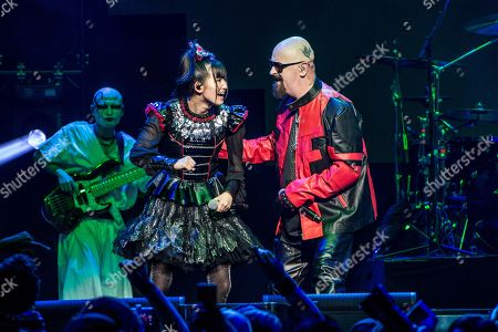 Stock Picture of Rob Halford of Judas Priest and Yui Mizuno of BABYMETAL perform at the 2016 Journeys AP Music Awards at Value City Arena at the Jerome Schottenstein Center, in Columbus, Ohio