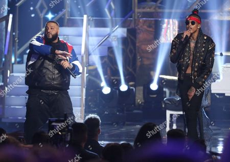 "DJ Khaled, left, and August Alsina perform ""Do You Mind"" at the American Music Awards at the Microsoft Theater, in Los Angeles"