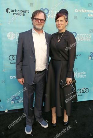 Rainn Wilson, left, and Holiday Reinhorn attend Backstage at the Geffen, in Los Angeles