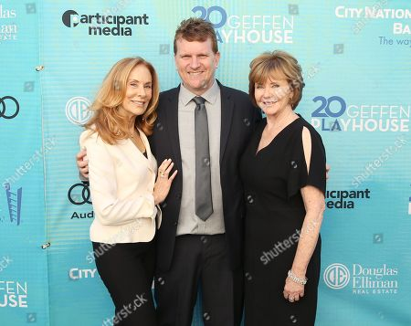 Pamela Robinson Hollander, from left, Gil Cates Jr., and Martha Henderson attend Backstage at the Geffen, in Los Angeles