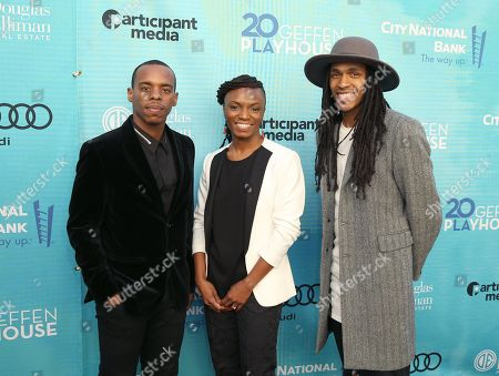 Lil' Buck, from left, Robin Sanders, and Jon Boogz attend Backstage at the Geffen, in Los Angeles