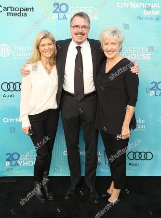 Vince Gilligan, center, and Holly Rice, right, attend Backstage at the Geffen, in Los Angeles