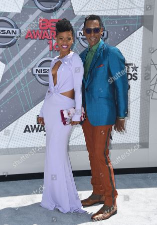 Danielle Mone Truitt, left, and Orlando Jones arrive at the BET Awards at the Microsoft Theater, in Los Angeles
